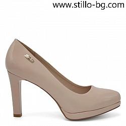 Дамски обувки от розов лак с висок ток и платформа - 26000
