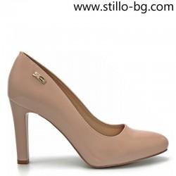 Дамски обувки на висок ток от розов лак - 28280