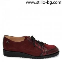 Равни обувки с връзки в бордо - 28101