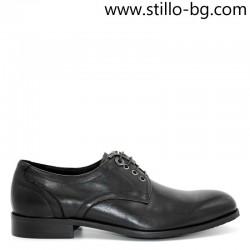 Официални мъжки обувки от естествена черна кожа - 28297