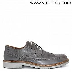 Сиви мъжки обувки от естествена перфорирана кожа - 28284