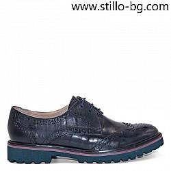 Дамски обувки швейцарски модел в синя естествена кожа  - 28347
