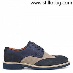 Мъжки кожени обувки в синьо и бежово - 28429