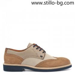 Мъжки кожени обувки в бежово и кафяво - 28431