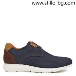 Мъжки спортно-елегантни обувки в синьо и кафяво - 28430