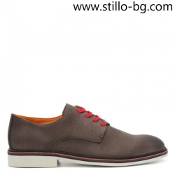 Мъжки обувки от кафяв набук, с червени връзки - 28432