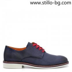 Мъжки обувки от син набук, с червени връзки - 28434
