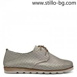 Сребристо бели кожени обувки с перфорация - 26179