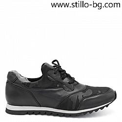 Спортно-елегантни обувки от естествена кожа и текстил - 28390
