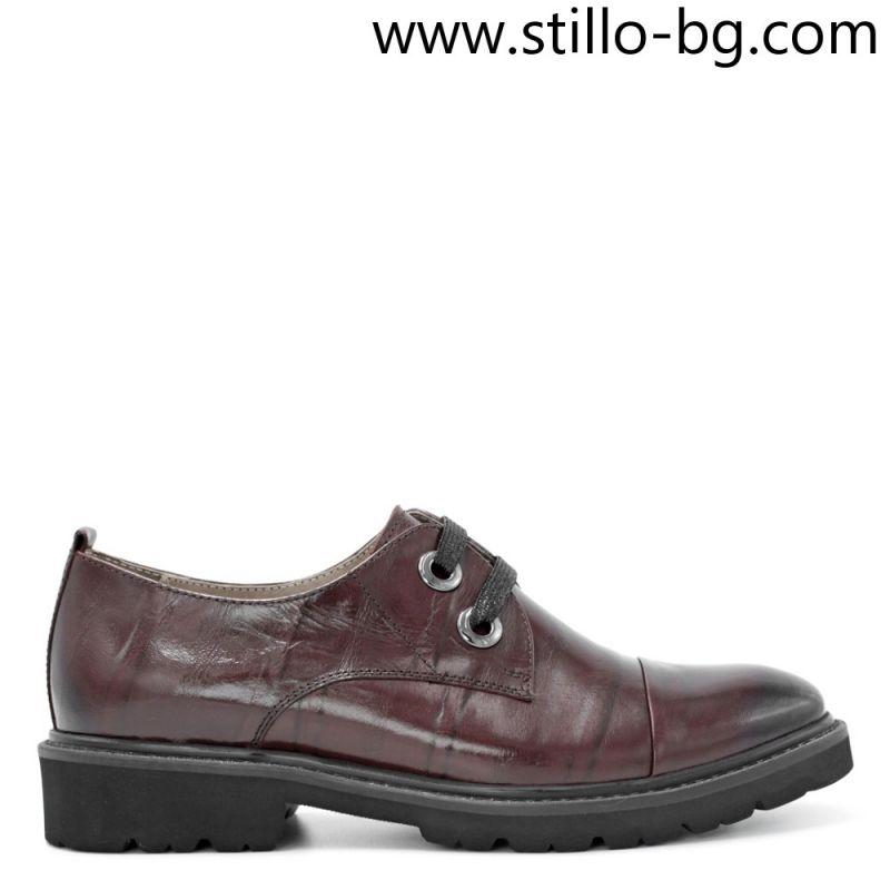 Кафяви дамски обувки от естествена кожа с дебело ходило - 28461