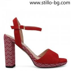 Червени велурени сандали с висок ток и платформа - 28561