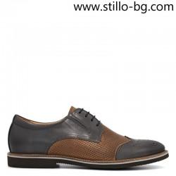 Мъжки обувки от естествена кожа в сиво и кафяво - 28658