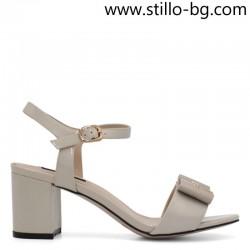 Бежови дамски сандали от естествен лак - 28654