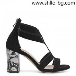 Дамски сандали от черен велур с шарен ток - 28679