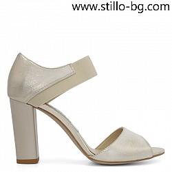 Златисти дамски сандали с ластик - 28686