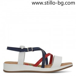 Равни сандали в бяло,синьо и червено от естествена кожа - 28753