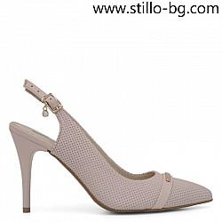 Розови обувки с отворена пета на ток, малки номера от №034 - 28825
