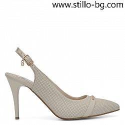 Бежови кожени обувки с отворена пета, малки номера - 28826