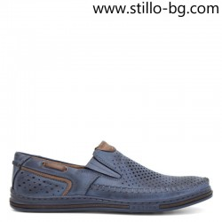 Сини кожени мъжки обувки с перфорация  - 28818