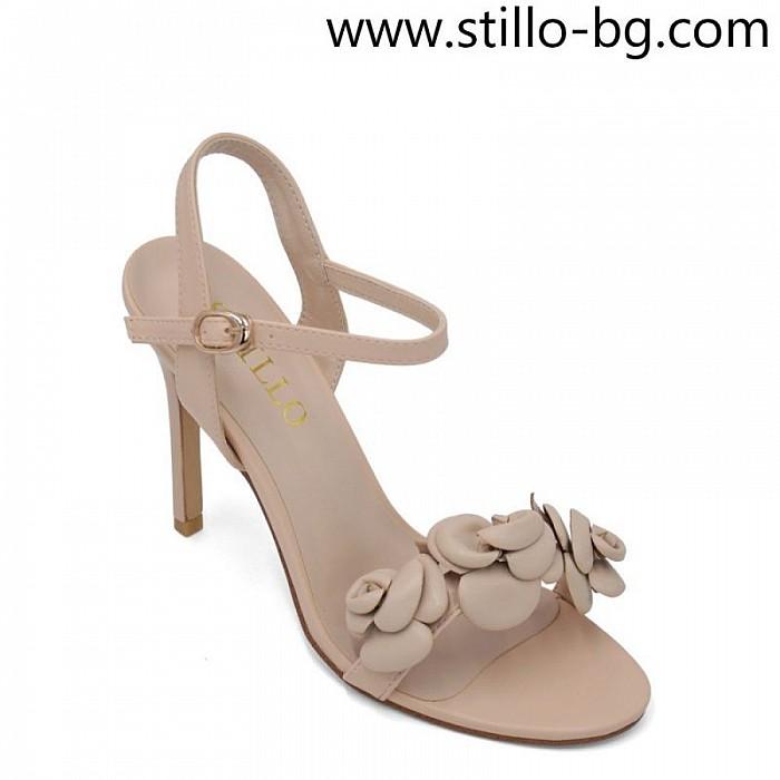 Стилни дамски сандали с декорация на висок ток - 28970