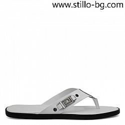 Бели мъжки чехли от естествена кожа - 29032