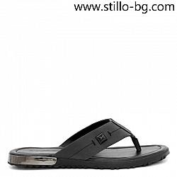 Черни ежедневни мъжки чехли от естествена кожа - 29026