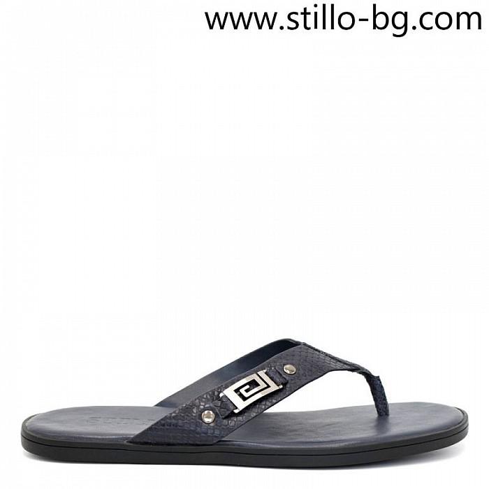 Тъмносини мъжки чехли от естествена кожа - 29025