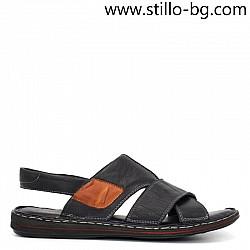 Ежедневни мъжки сандали от естествена кожа в черно - 29019