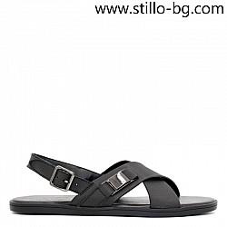 Ежедневни мъжки кожени сандали в черно - 29030