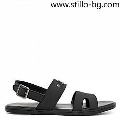 Черни мъжки сандали от естествена кожа с декорация - 29033