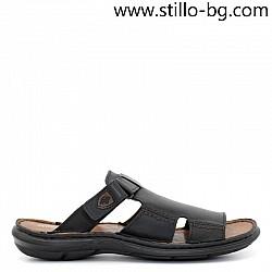 Мъжки чехли от естествена кожа с дебело ходило - 28819