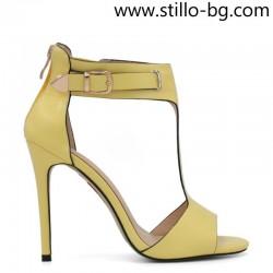 Жълти дамски сандали със затворена пета на ток - 28918