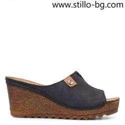 Дамски чехли от тъмносин набук на платформа - 29087