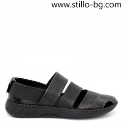 Мъжки сандали от естествена, перфорирана кожа в черно - 29101