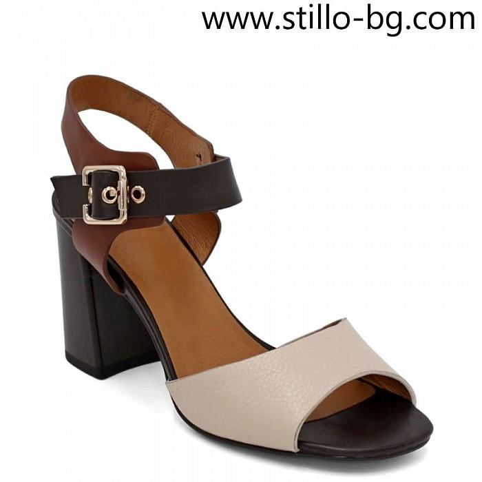 f10aa46f05b Stillo магазини за обувки, Дамски кожени сандали на дебел ток в ...
