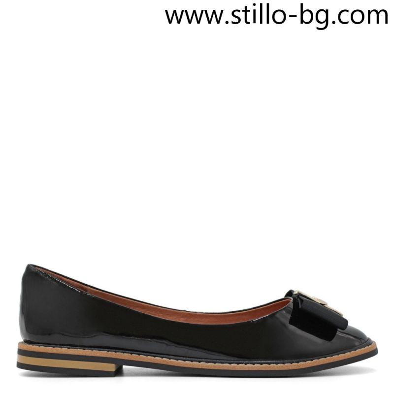 Дамски пантофки от естествен лак с панделка - 29182