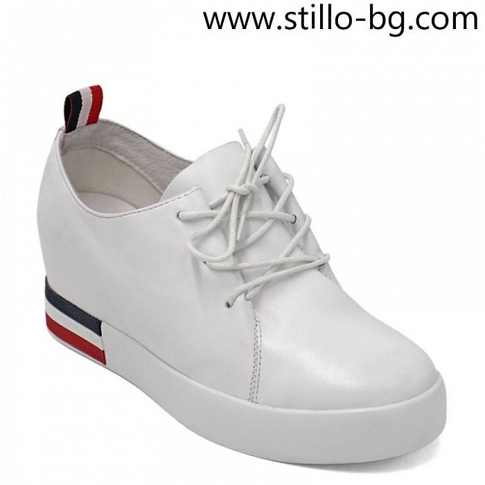 6148a87600c Stillo магазини за обувки, Дамски кецове от естествена бяла кожа на ...