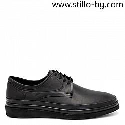 Ежедневни мъжки обувки от естествена черна кожа - 29210