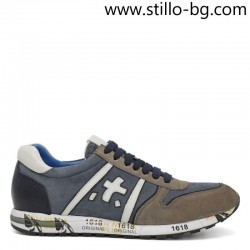 Мъжка спортна обувка в синьо, сиво и бяло - 29201