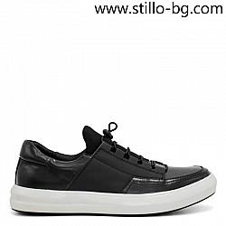 Спортно-елегантни мъжки обувки от естествена черна кожа - 29231