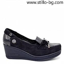 23969 - Дамски обувки с платформа от син велур и лак-МАЛКИ РАЗМЕРИ ОТ №34