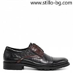 Стилни мъжки обувки от естествена черна и кафява кожа - 29285