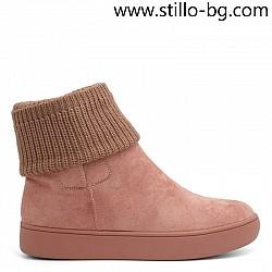 Розови велурени боти на равна подметка с чорапче - 29309