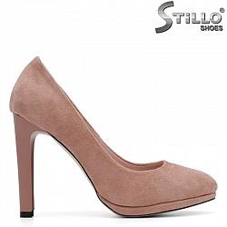 Розови обувки на висок тънък ток с платформа - 29444