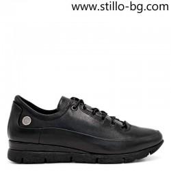 Спортни дамски обувки от естествена черна кожа  - 29234