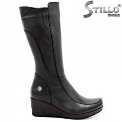 Дамски черни ботуши от естествена кожа - 29420