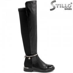 Черни чизми над коляното на нисък широк ток - 29556