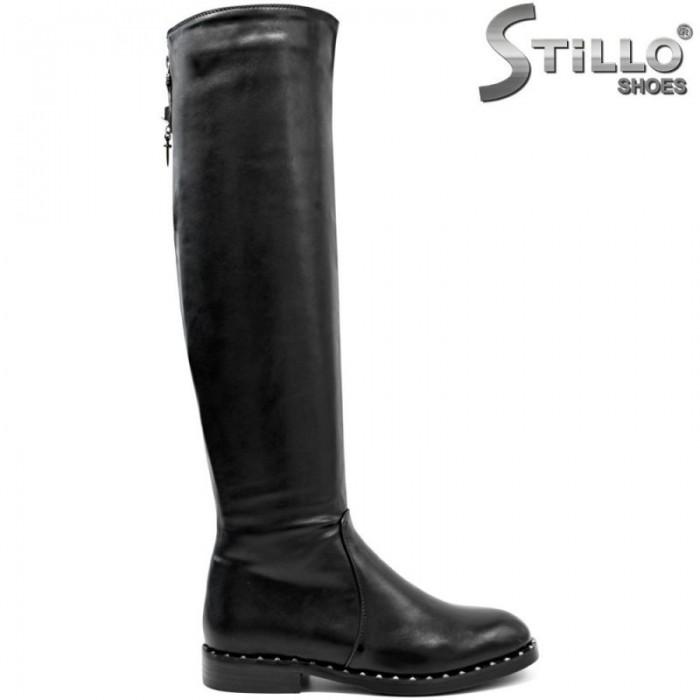 Черни чизми с рапиди на нисък ток - 29565
