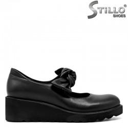Дамски обувки в естествена черна кожа на платформа   - 29587