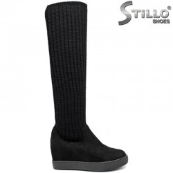 Ботуши с плетен чорап на платформа - 29315